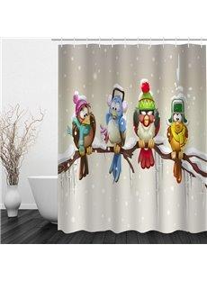 Cute Cartoon Birds Standing on the Tree 3D Printed Bathroom Shower Curtain