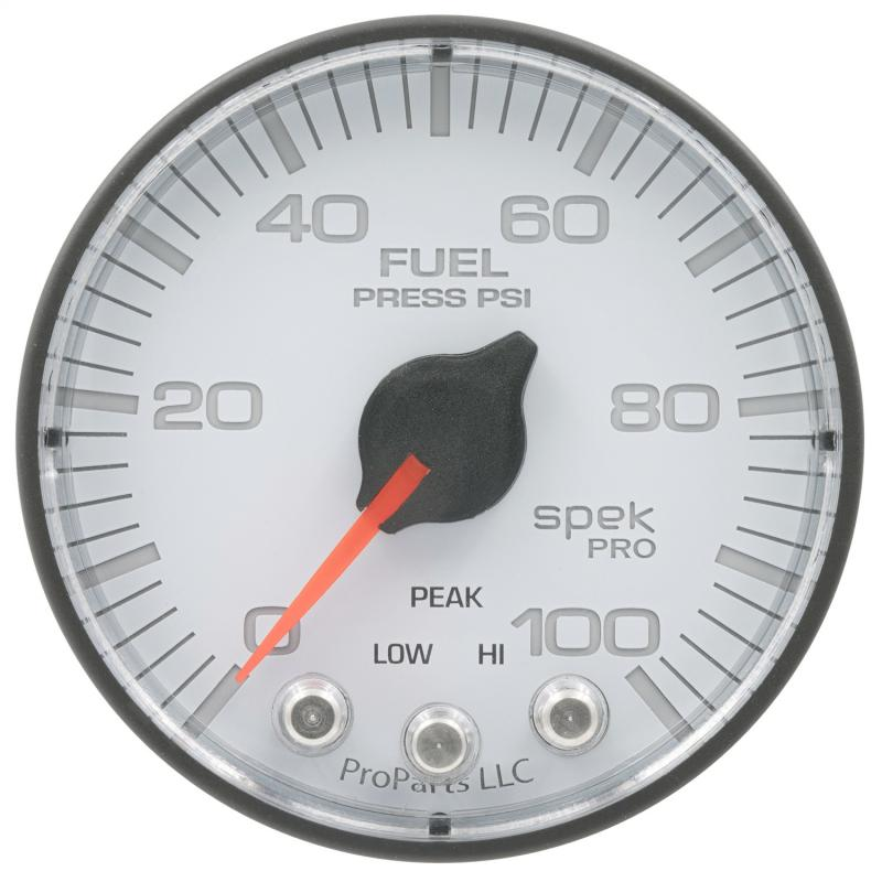 AutoMeter GAUGE; FUEL PRESS; 2 1/16in.; 100PSI; STEPPER MOTOR W/PEAK/WARN; WHT/BLK; SPEK