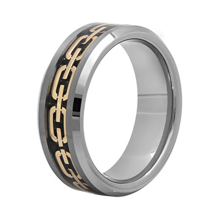 Mens 8mm Comfort Fit Chain Inlay Tungsten Wedding Band, 12 , Multiple Colors