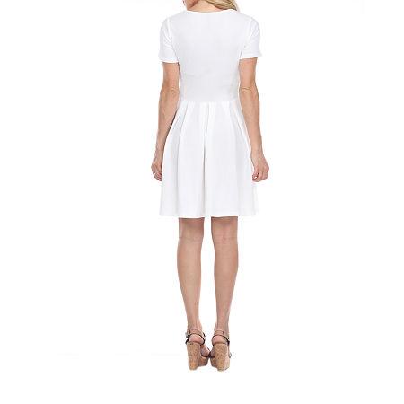 White Mark Meghan Short Sleeve Fit & Flare Dress, Large , White
