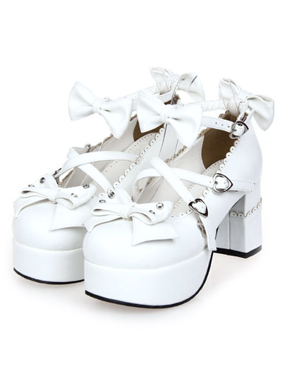 Milanoo White Chunky Heels Lolita Shoes Square Heels Ankle Strap Bows Heart Shape Buckles