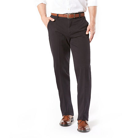 Dockers Men's Classic Fit Workday Khaki Smart 360 Flex Flat Front Pant D3, 34 36, Black
