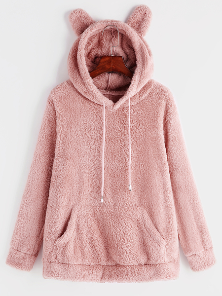 Yoins Cameo V-neck Long Sleeves Double-faced Plush Hoodie