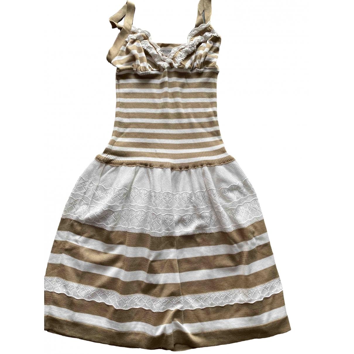 Philosophy Di Alberta Ferretti \N Beige Cotton - elasthane dress for Women 34 FR
