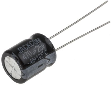RS PRO 470μF Electrolytic Capacitor 25V dc, Through Hole (25)