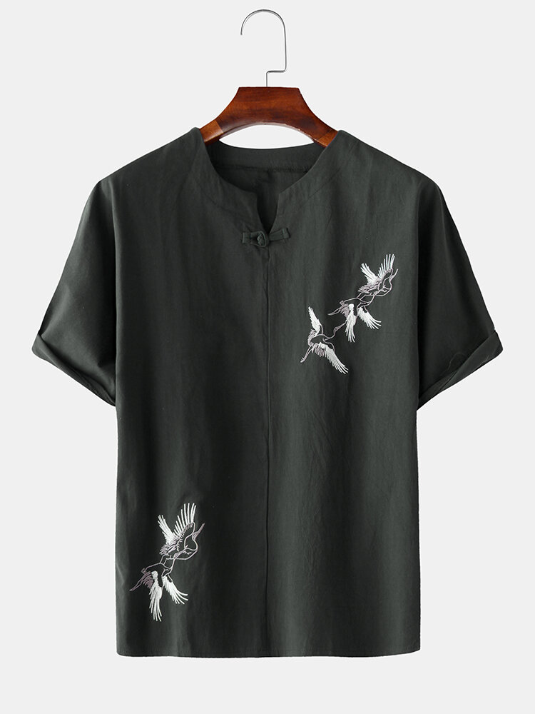Mens Chinese Linen Red-Crowned Crane Embroidery T-shirts
