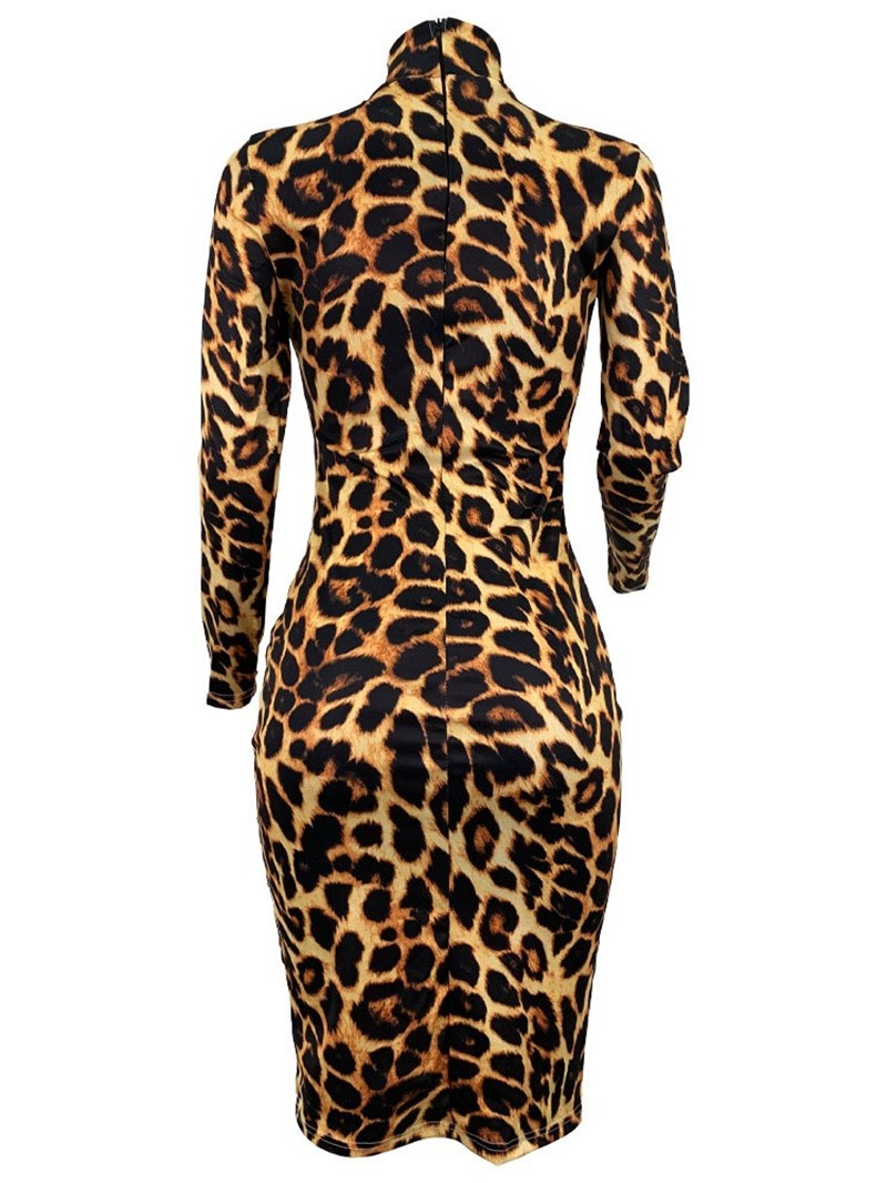 Ericdress Print Knee-Length Long Sleeve Bodycon Pullover Dress
