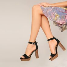 Square Open Toe Ankle Strap Stacked Heel Sandals
