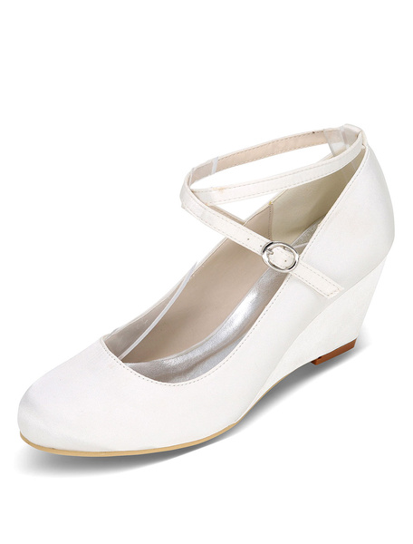Milanoo White Wedding Shoes Wedge Heel Criss Cross Mother Shoes Satin Wedding Guest Shoes