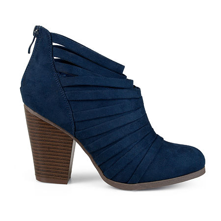 Journee Collection Womens Selena Booties Stacked Heel, 7 Medium, Blue