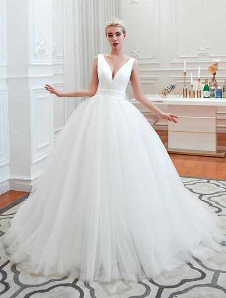 Milanoo Princess Wedding Dress 2020 Ball Gown V Neck Sleeveless Natural Waist Court Train Bridal Gowns