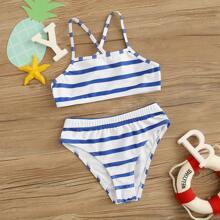 Girls Striped Crisscross Back Bikini Swimsuit