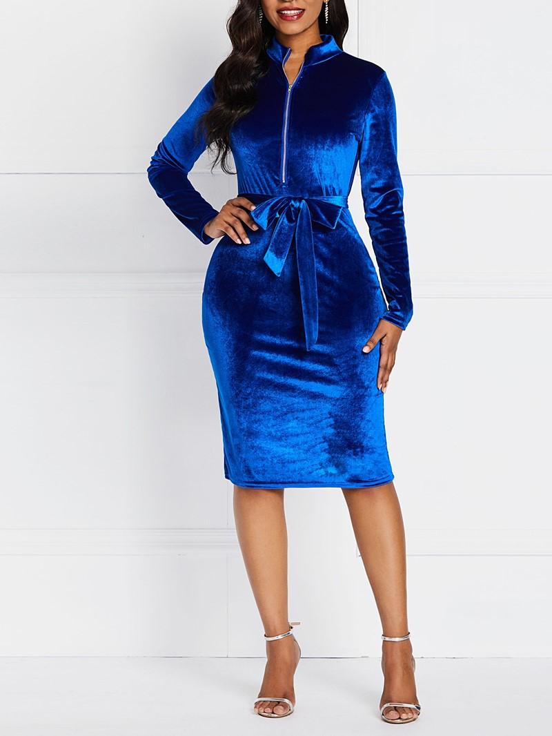 Ericdress Plain Three-Quarter Sleeve Mid-Calf Lace-Up Bodycon Zipper Dress