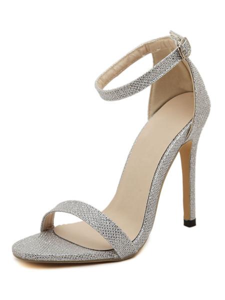 Milanoo High Heel Sandals Womens Glitter Open Toe Ankle Strap Stiletto Heel Sandals