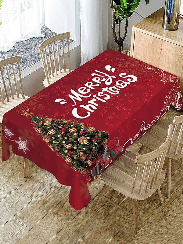 Christmas Tree Greeting Pattern Fabric Tablecloth