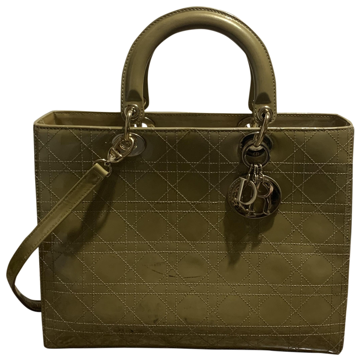 Dior Lady Dior Beige Patent leather handbag for Women \N