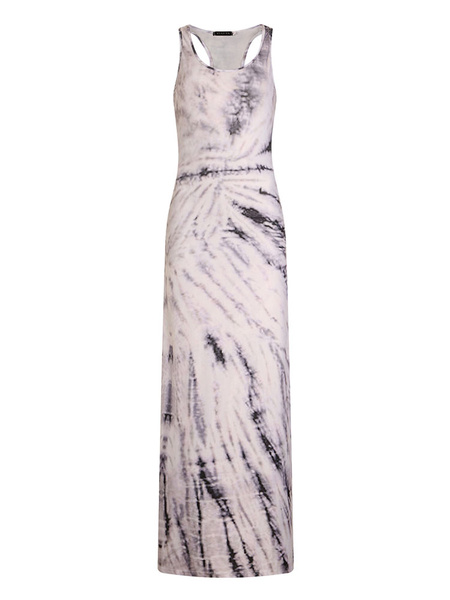 Milanoo Maxi Dress U Neck Sleeveless Printed Tank Beach Long Warp Dress For Women