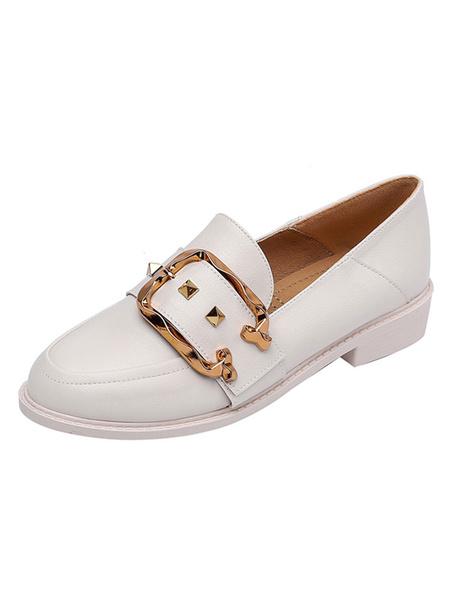 Milanoo Black Loafers Women PU Leather Round Toe Rivets Slip On Casual Shoes