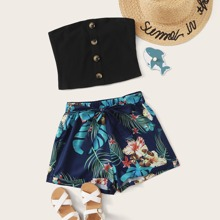 Girls Button Front Tube Top & Tropical Print Belted Shorts Set