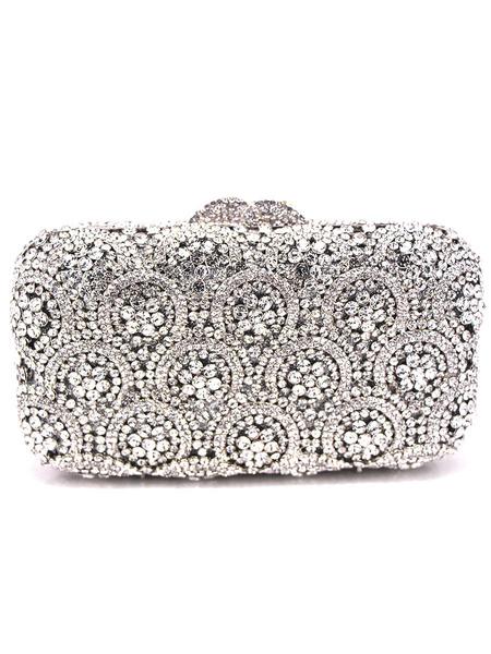 Milanoo Party Handbags Special Occasion Handbags Rhinestones Metallic Elegant Detachable Wristlet Strap Evening Clutch Bags