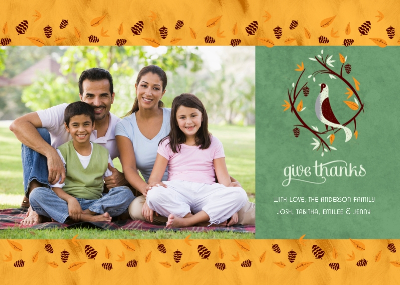 Thanksgiving Photo Cards 5x7 Folded Cards, Standard Cardstock 85lb, Card & Stationery -Give Thanks