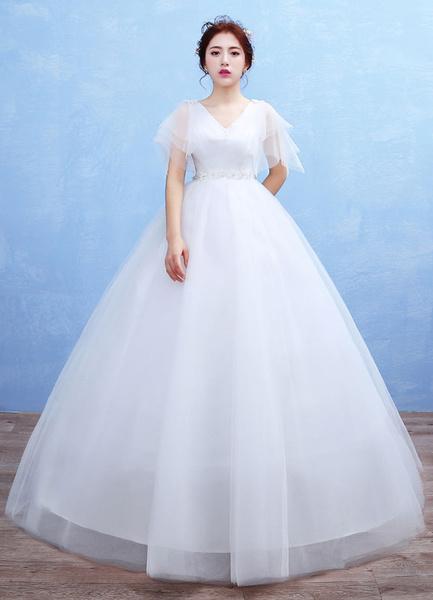Milanoo Maternity Wedding Dress Tulle V Neck Maxi Bridal Gown Empire Waist Flowers Beading Half Sleeve Floor Length Ball Gown Bridal Dress