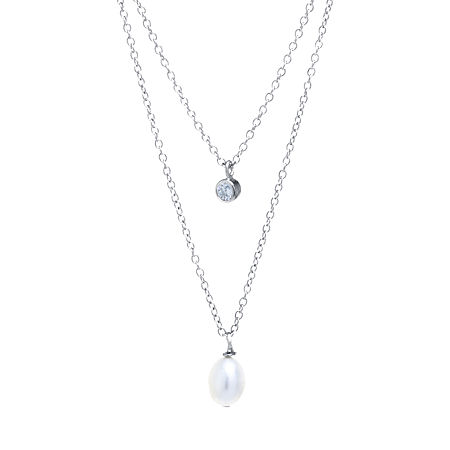 Silver Treasures Cubic Zirconia Cultured Freshwater Pearl Sterling Silver 16 Inch Cable Pendant Necklace, One Size , No Color Family