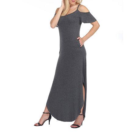 White Mark-Maternity Short Sleeve Maxi Dress, Medium , Black