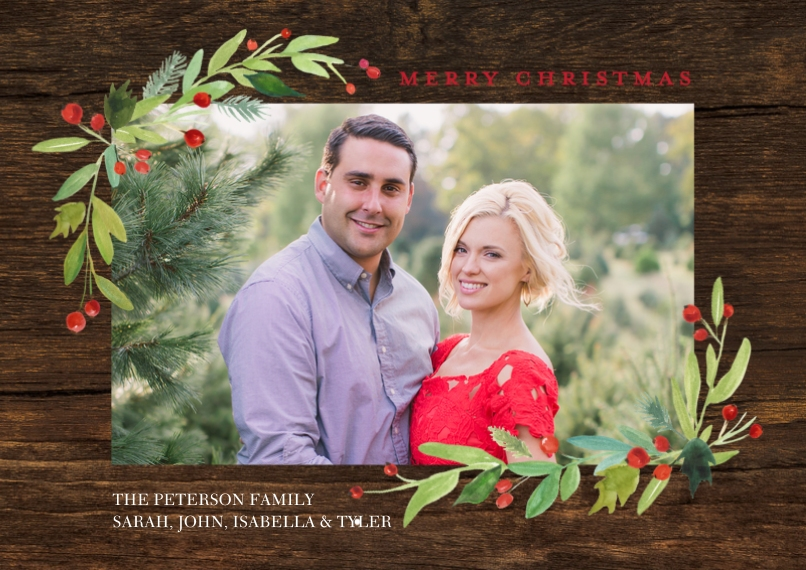 Christmas Photo Cards 5x7 Cards, Premium Cardstock 120lb with Scalloped Corners, Card & Stationery -Christmas Watercolor Floral by Tumbalina