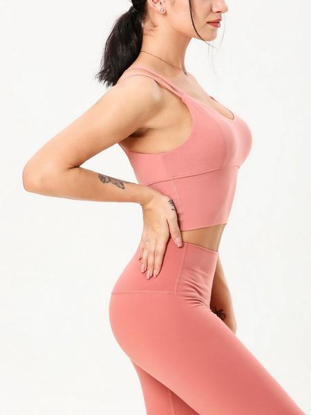 Milanoo Yoga Cami Tops Sleeveless Stretch Tummy Control Workout Tops