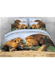 The Lion Couple Encouraging Each Other 3D Printed 4-Piece Polyester Bedding Sets/Duvet Covers