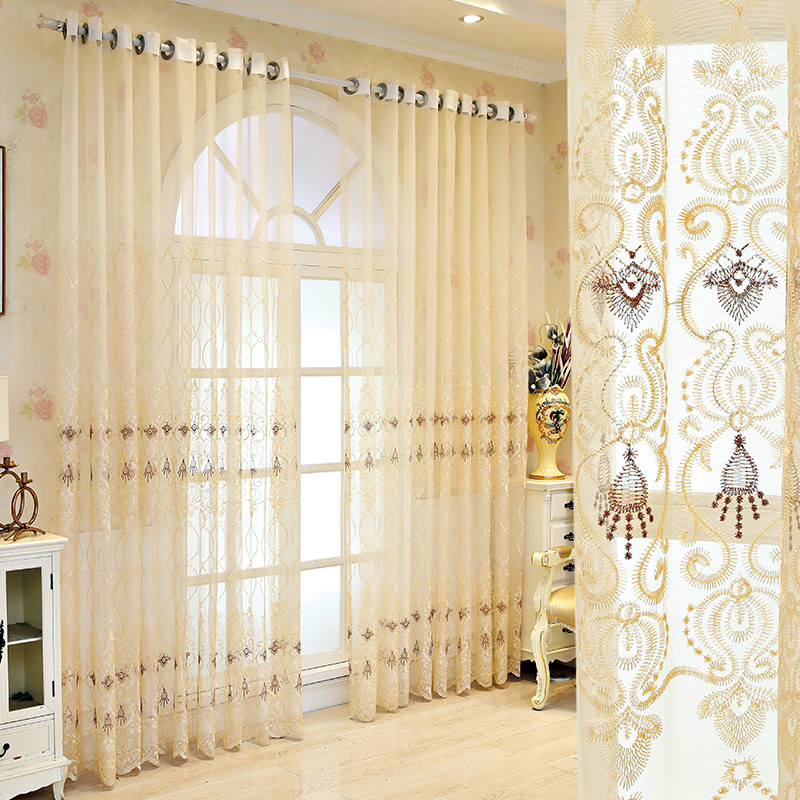 Elegant Embroidered Breathable Custom Bedroom Living Room Sheer Curtains No Pilling No Fading No off-lining