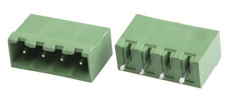 RS PRO , 4 Way, 1 Row, Vertical PCB Terminal Block Header (10)