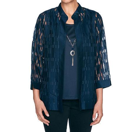 Alfred Dunner Wisteria Lane Womens 3/4 Sleeve Layered Top, Medium , Blue