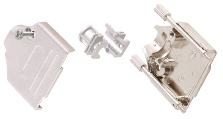 MH Connectors , MHDTZK-RA Zinc D-sub Connector Backshell, 9 Way, Strain Relief, Silver