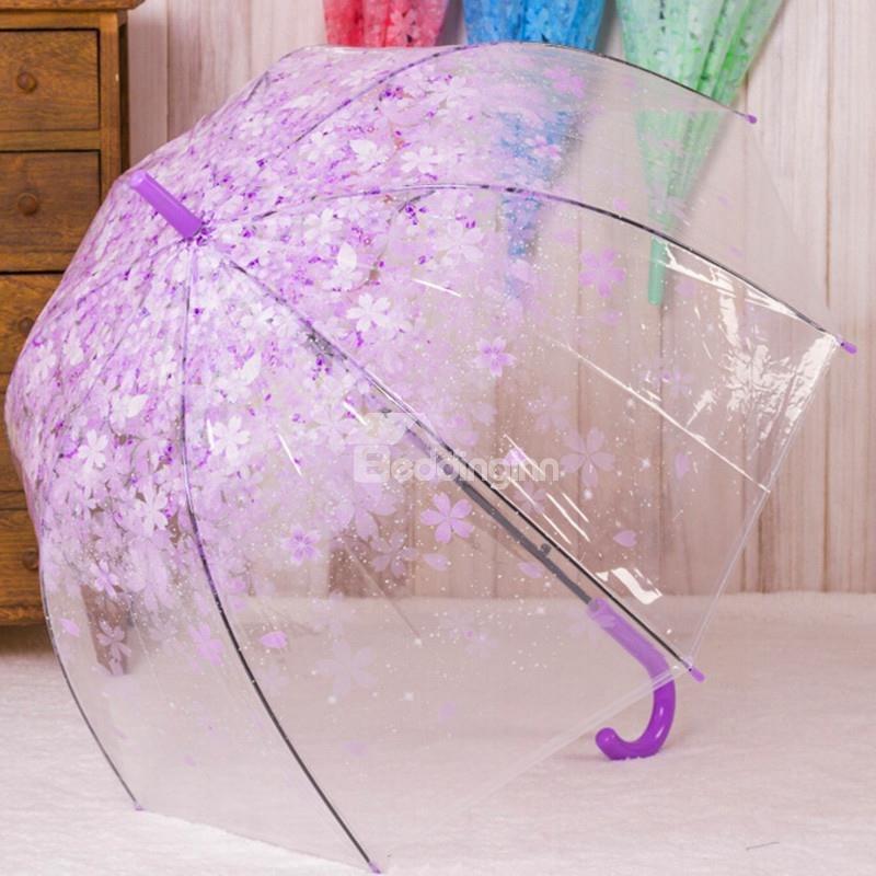 Romantic Floral Pattern Transparent Personal Umbrella