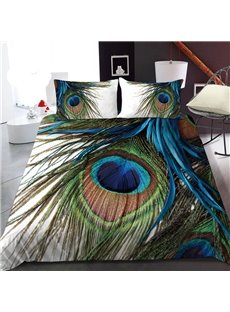 Peacock Feathers 3D Printed Polyester 1-Piece Warm Quilt