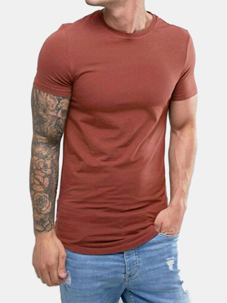 Mens Basic Cotton Breathable O-neck Solid Color Short Sleeve Slim Fit Casual T Shirts