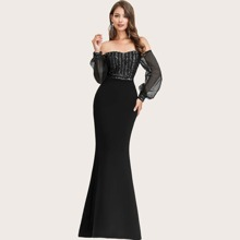 Sheer Sleeve Sequin Bodice Bardot Prom Dress