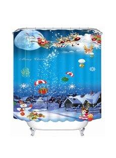 Cartoon Santa Riding Reindeer Drop Gift Printing Bathroom 3D Shower Curtain