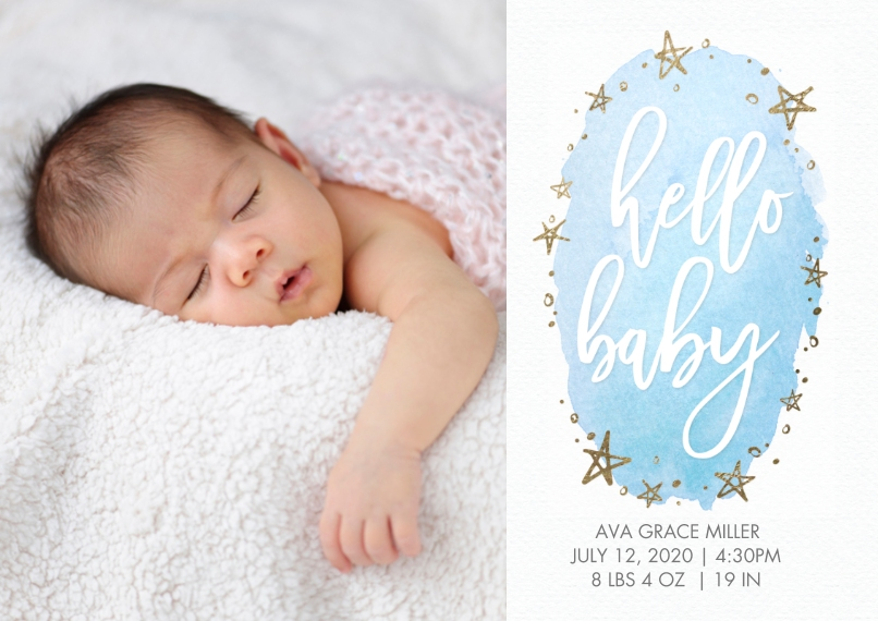 Baby Announcements 5x7 Cards, Premium Cardstock 120lb with Rounded Corners, Card & Stationery -Baby Watercolor Stars Sparkle by Tumbalina