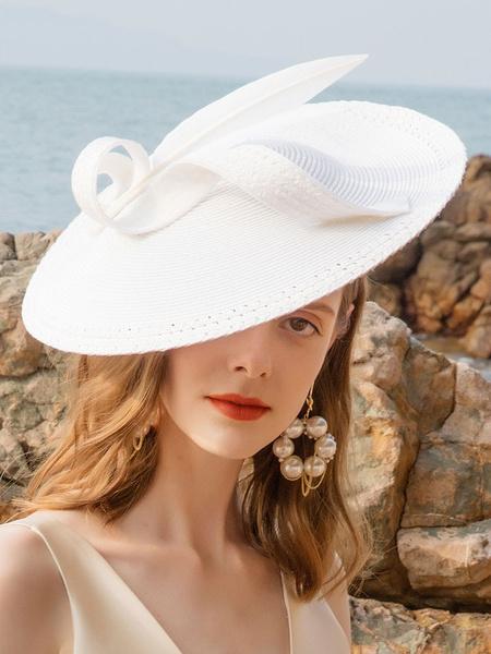 Milanoo Women Fascinator Hat Ecru White Feathers Vintage Hat Halloween