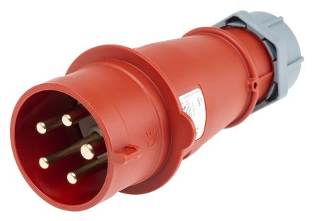 MENNEKES , AM-TOP IP44 Red Cable Mount 5P Industrial Power Plug, Rated At 32.0A, 400 V
