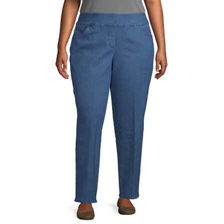 Alfred Dunner-Plus Panama City Womens Straight Flat Front Pant, 22w , Blue