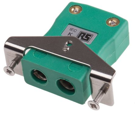 RS PRO IEC Thermocouple Connector for use with Type K Thermocouple Type K, Standard, Green
