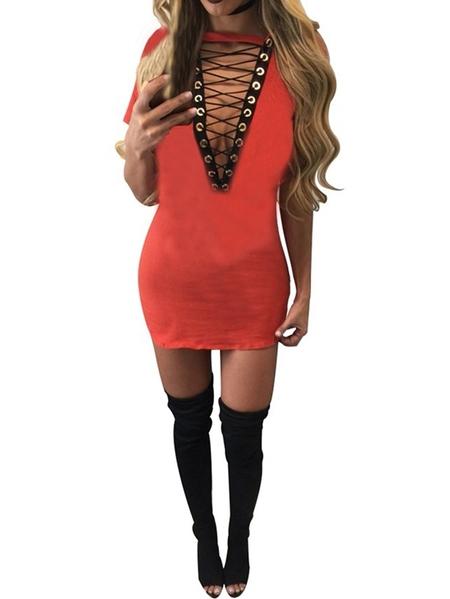 Yoins Auxo Lace-up Design Short Sleeves Dress