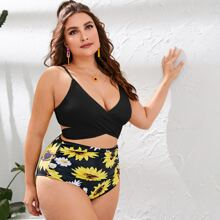 Plus Sunflower Print Wrap Bikini Swimsuit