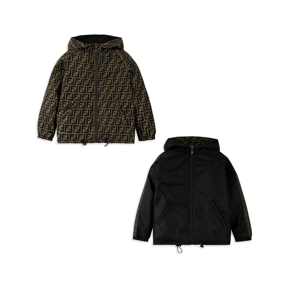 Fendi Arm Logo Zip Up Jacket Colour: BLACK, Size: 10 YEARS