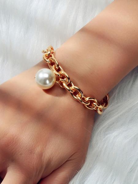 Milanoo Bracelet For Woman Blond Cut Out Metal Pearl Geometric Bracelets