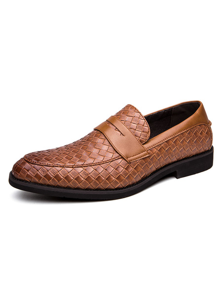 Milanoo Mens Loafer Shoes Slip-On Plaid Round Monk Strap Toe PU Leather Dress Shoes